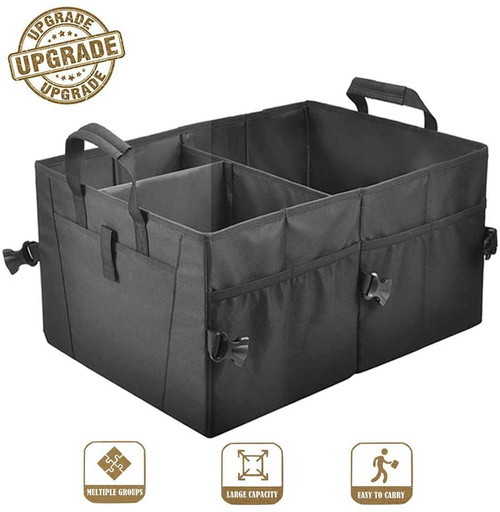Trunk Organizer for Car COCOBELA SUV Storage Two Handles, Side Pockets, Black, Non-Slip Collapsible Storage