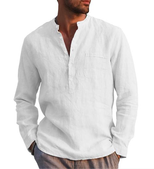 URRU Men's Linen Cotton Blend Henley Shirt Roll-up Long Sleeve Basic Summer Vintage Shirt Band Collar Plain Tee