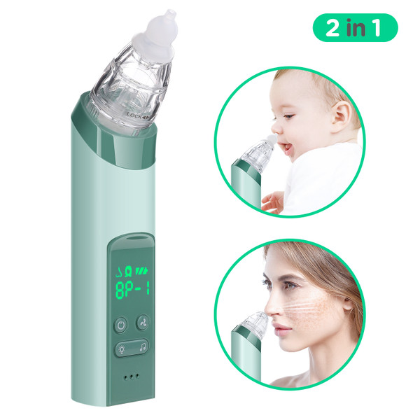 2 in 1 Baby Nasal Aspirator,Blackhead Remover - COCOBELA USB Electric Nose Sucker for Baby Infants with 3 Silicon Tip and 4 Replacement Blackhead Remover Probes
