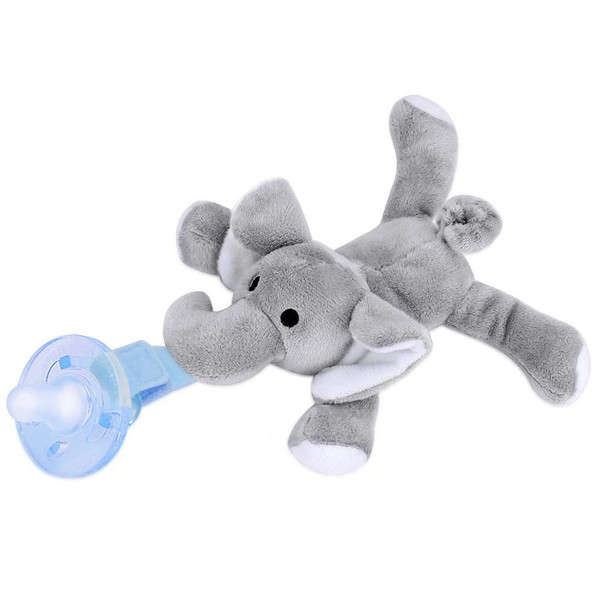 Infant Pacifier with Detachable Plush Toy Baby Pacifier Includes Soft Plush Stuffed Animal Toy for Infant Boys Girls - Elephant