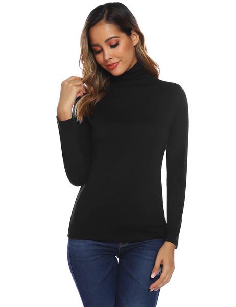 URRU Women's Sleeveless/Short/Long Sleeve Slim Fit Turtleneck Mock Soft T-Shirt Tank Tops Basic Stretchy Pullover