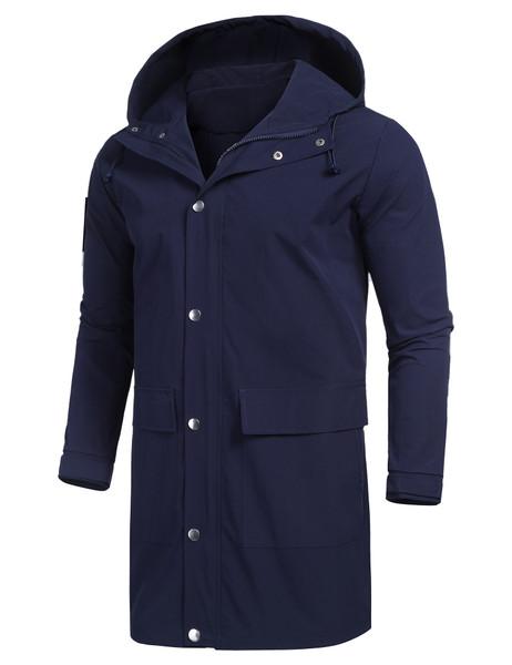 URRU Men's Waterproof Raincoat Hooded Windbreaker Lightweight Long Rain Jacket Active Outdoor Trench Coat