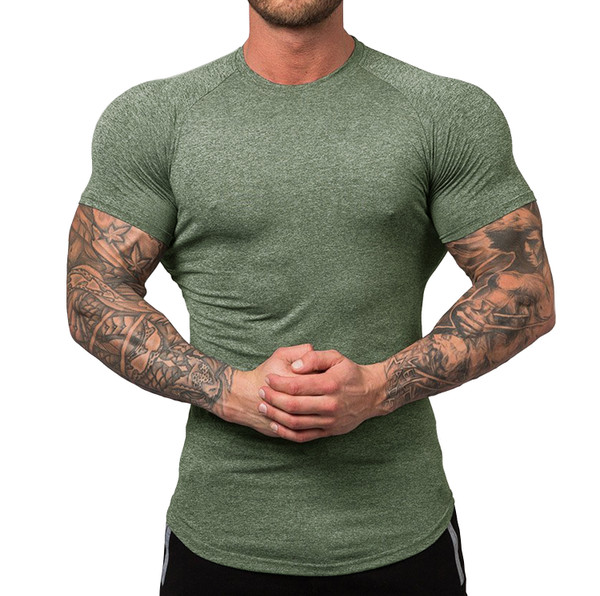 URRU Men's Quick Dry Workout T-Shirts Compression Athletic Baselayer Tee Gym Training Tops