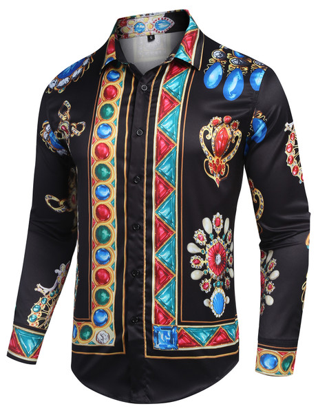 URRU Mens Long Sleeve Luxury Design Print Dress Shirt Slim Fit Casual Fashion Button Down Shirts