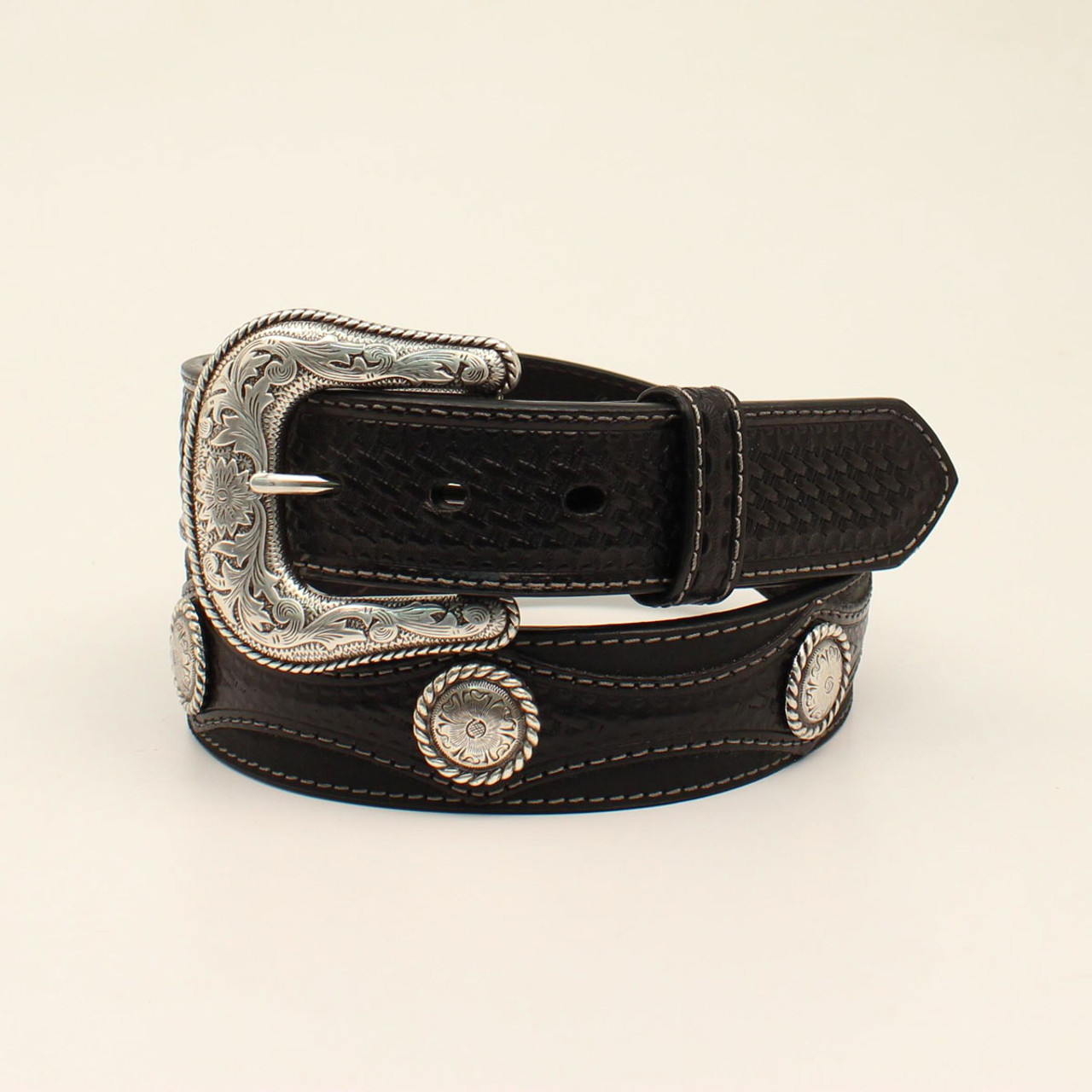 ACCESSORIES BELT KIDS NOCONA SILVER CONCHO WITH 3 CROSSES N4440602
