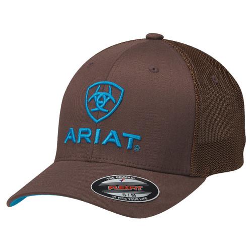 ARIAT BROWN FLEX FIT BLUE EMB LOGO - HATS CAP   - 1502302