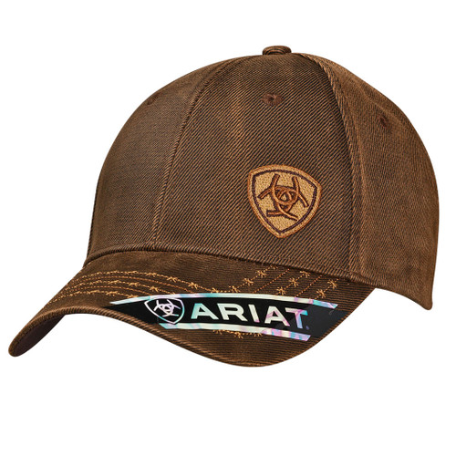 ARIAT BROWN OILSKIN CAP BARBED WIRE - HATS CAP   - 1518002