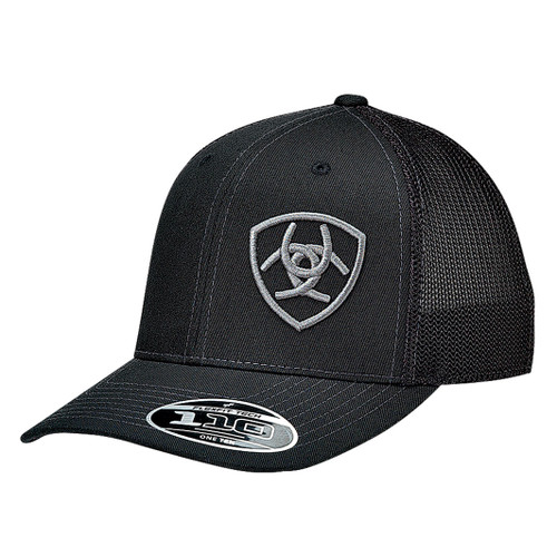 ARIAT BLACK CAP GREY LOGO OFFSET - HATS CAP   - 1597801