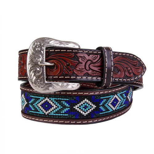 TWISTED X BLUE BEADED LEATHER BELT - ACCESSORIES BELT MEN - XIBB101