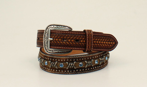 ARIAT CALF HAIR BELT BARBED WIRE KNT - ACCESSORIES BELT MEN - A1027202