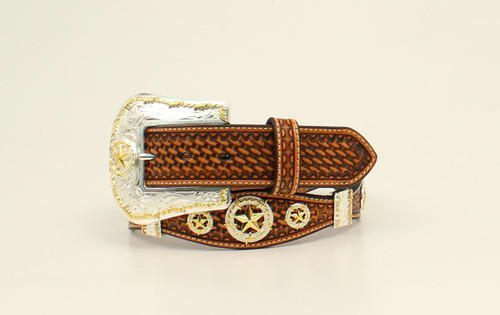 NOCONA BROWN LONE STAR CONCHOS BELT - ACCESSORIES BELT MEN - N2480808