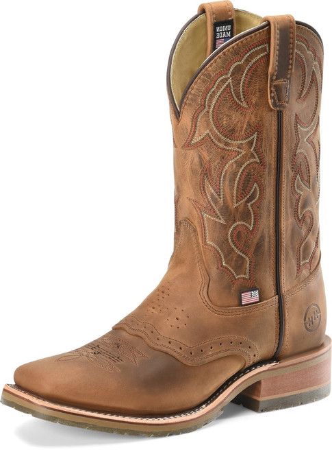 DOUBLE H OLDTOWN FOLKLORE BROWN - BOOT MENS WESTERN - DH3560