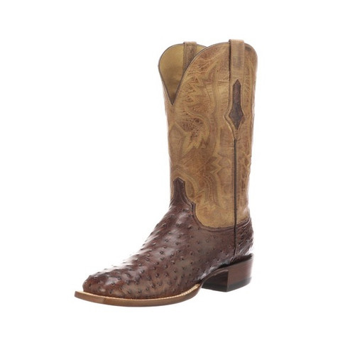 LUCCHESE CLIFF F. QUILL OSTRICH TAN - BOOT MENS WESTERN - CL1118.W8