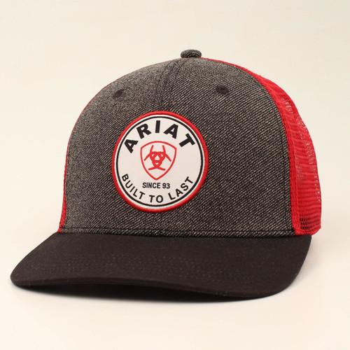 ARIAT ROUND PATCH GREY RED - HATS CAP   - A300010206