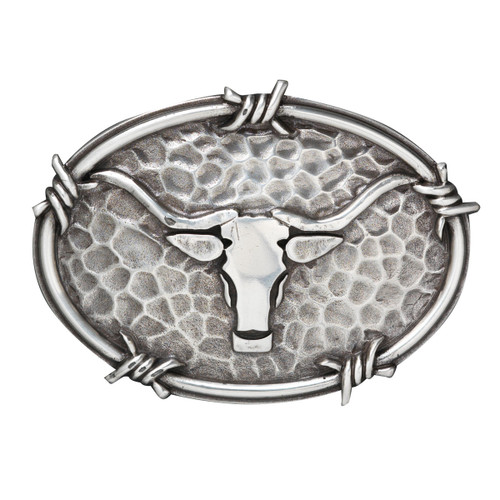 ARIAT OVAL LONGHORN BARBEWIRE BUCKLE - ACC BUCKLE   - A37050