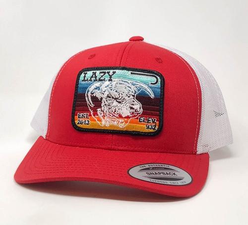 LAZY J SERAPE ELEVATION PATCH RED/WHT - HATS CAP   - REDWHT3SV