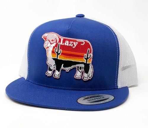 LAZY J LARGE SUNRISE PATCH - HATS CAP   - BLUEWHT4LSUN