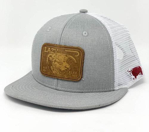 LAZY J LEATHER ELEVATION PATCH - HATS CAP   - HEATHWHT3LEL
