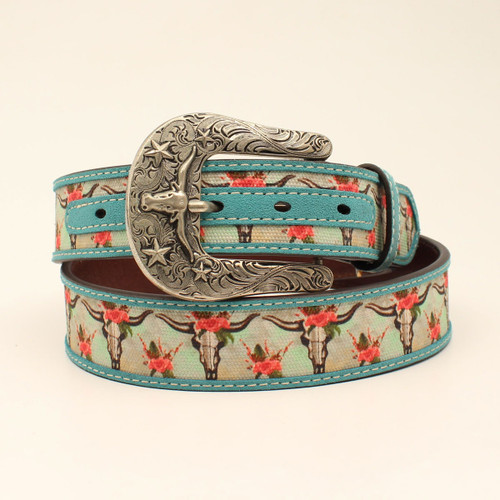 ARIAT SKULL FLORAL TURQUOISE - ACCESSORIES BELT LADIES - A1531433