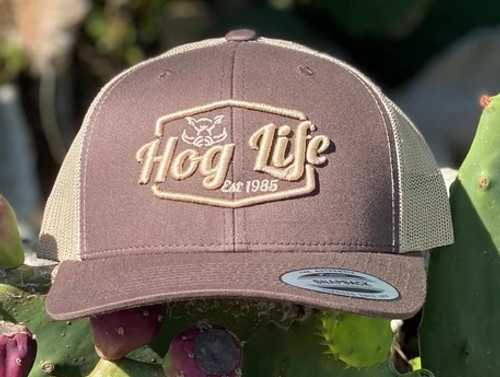 HOG LIFE BROWN TAN MESH OAKLEY - HATS CAP   - HLC-161