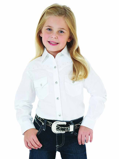 WRANGLER GIRLS RHINESTONE WESTERN SHIRT - KIDS GIRLS SHIRT - GW7001W