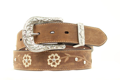 ARIAT SCROLLING FLOWER DESIGN BELT - ACCESSORIES BELT LADIES - A1510202