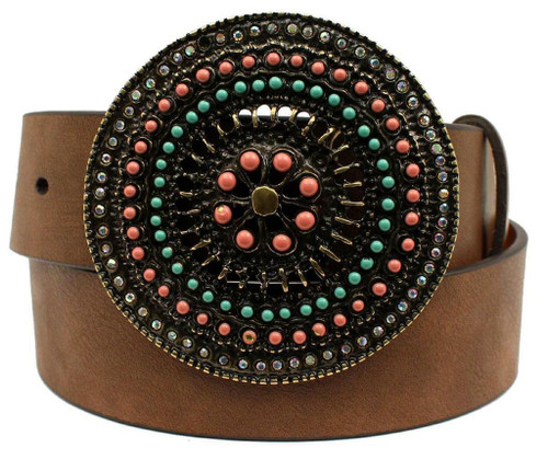 ARIAT PINK & TURQUOISE BEADED BUCKLE - ACCESSORIES BELT LADIES - A1529802