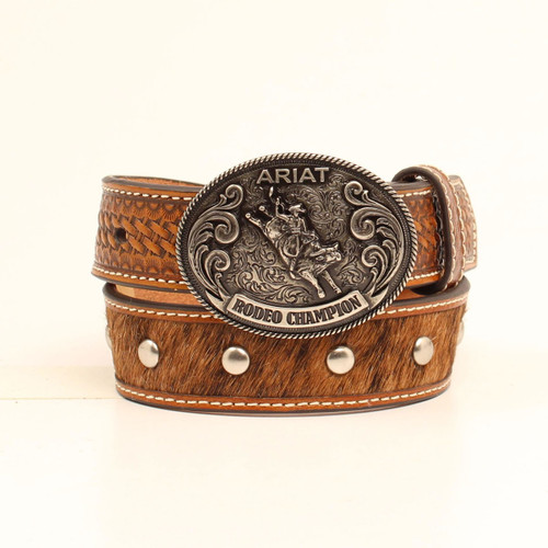 ARIAT CALFHAIR RODEO CHAMPION BUCKLE - ACCESSORIES BELT KIDS - A1305608