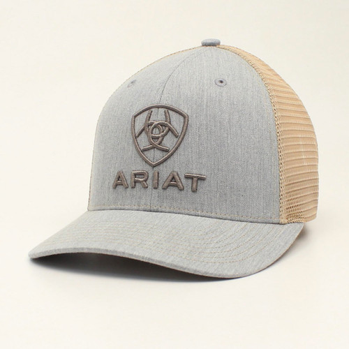 ARIAT GREY EMBROIDERED TAN MESH - HATS CAP   - A300012008
