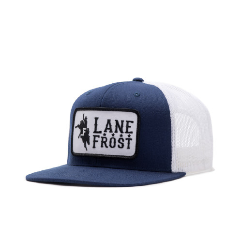LANE FROST NAVY  WHITE BRONCO PATCH - HATS CAP   - MIDNIGHT