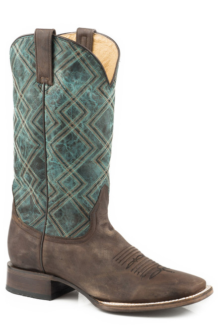 ROPER BURNISHED BROWN BLUE GEOMETRIC - BOOT MENS WESTERN - 09-020-7026-0764BR