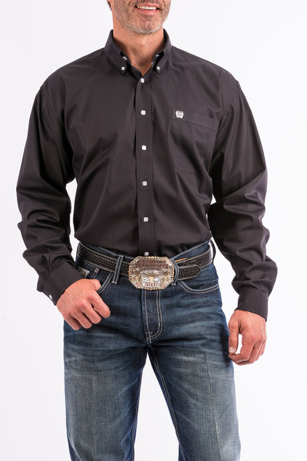 CINCH SOLID BLACK BTTN DWN - MENS SHIRT   - MT10320083