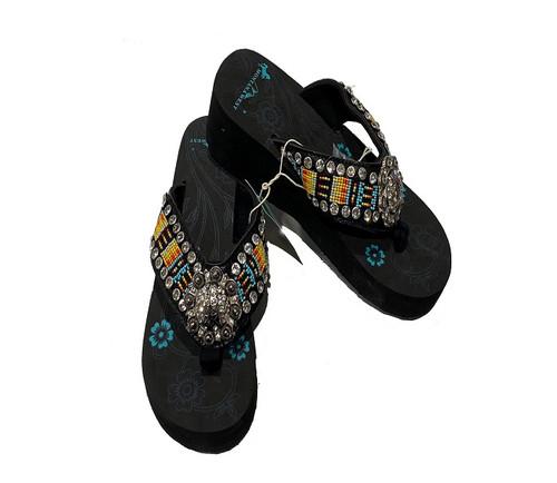 MONTANA WEST AZTEC HAND BEADED COLLECTION - FOOTWEAR LADIES   - BD19-S091BK
