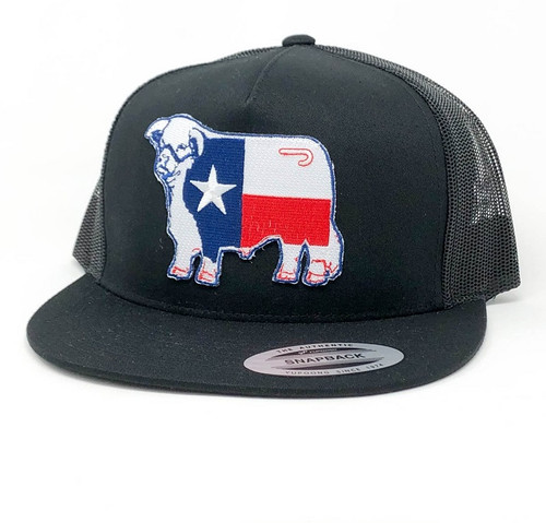 LAZY J TEXAS FLAG BULL PATCH BLACK - HATS CAP   - BLKBLK4TEX
