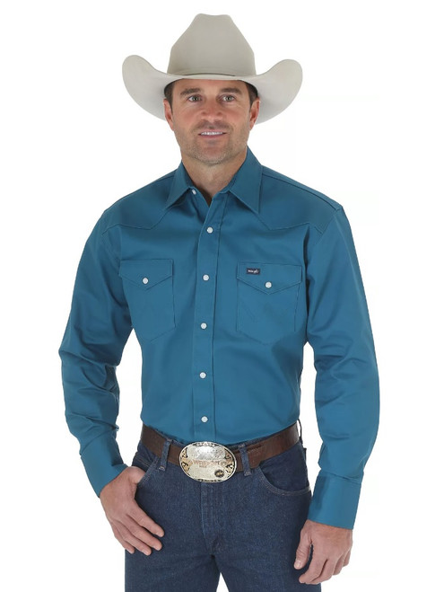 WRANGLER COWBOY CUT WESTERN SNAP TEAL - MENS SHIRT   - MS71419