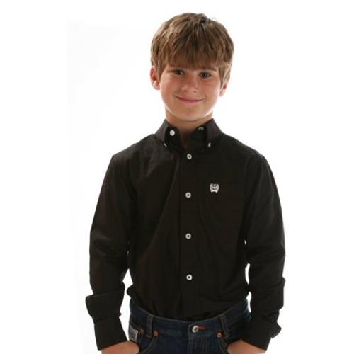 CINCH BLACK SOLID TWILL BUTTON DOWN - KIDS BOYS SHIRT - MTW7060027