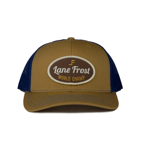 LANE FROST TAN BLUE WORLD CHAMP PATCH - HATS CAP   - BACKWOODS