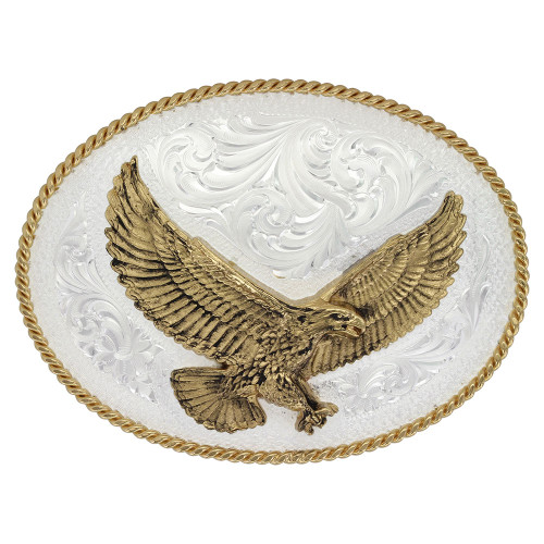 MONTANA SILVERSMITHS SILVER ENGRAVED LARGE EAGLE - ACC BUCKLE   - 1460