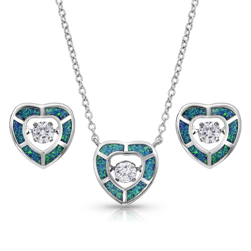 MONTANA SILVERSMITHS RIVER OF LIGHTS HEART SET - ACCESSORIES JEWELRY NECKLACE - JS4160