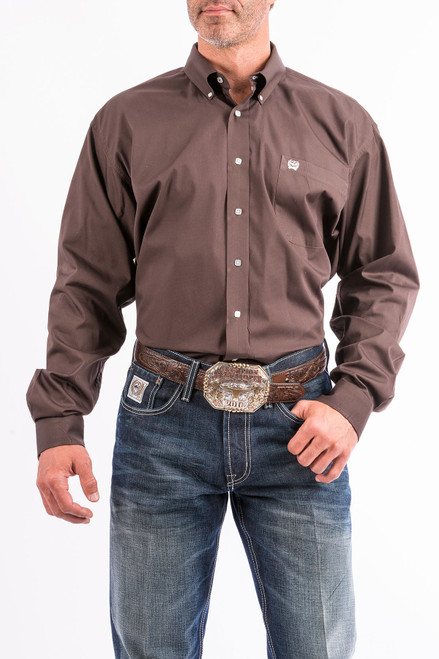 CINCH SOLID BROWN BUTTON DOWN - MENS SHIRT   - MTW1104236