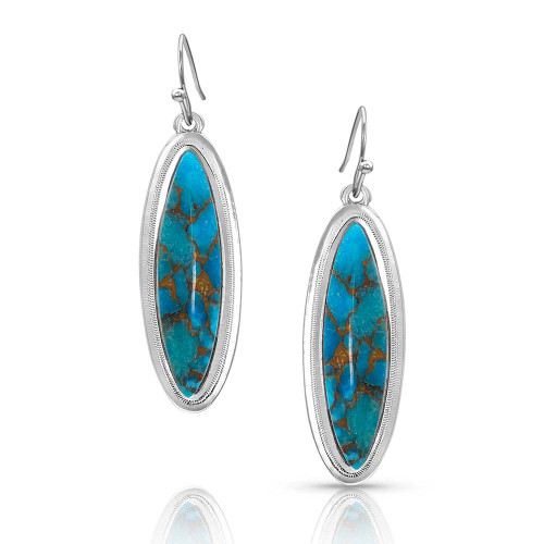 MONTANA SILVERSMITHS SANTA FE TURQUOISE SILVER - ACCESSORIES JEWELRY EARRINGS - ER3716TQ