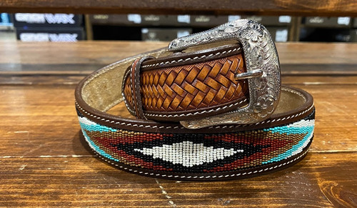 RANGER BEADED SOUTHWESTERN DESIGN - ACCESSORIES BELT MEN - KH-1119