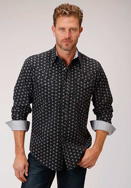 ROPER SNAP BLACK DIAMOND STRIPE - MENS SHIRT   - 3-01-064-0764BU