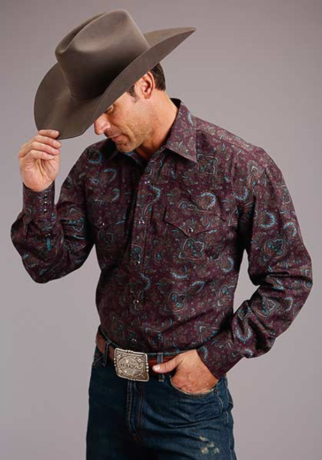 STETSON SNAP PAISLEY MAROON BROWN - MENS SHIRT   - 11-001-0425-7004BU