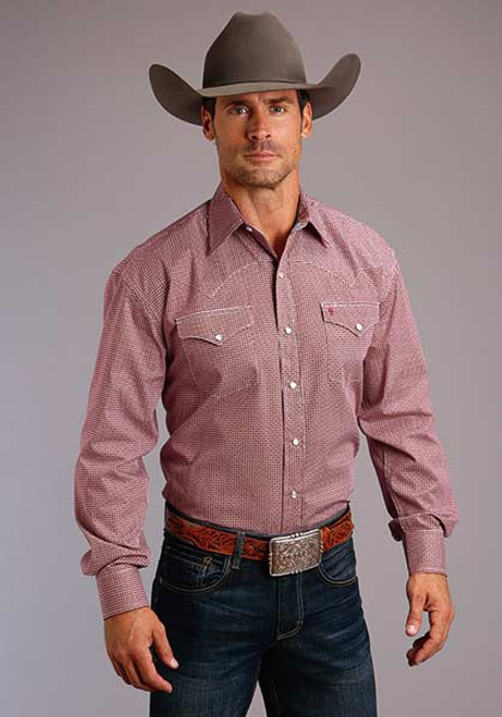 STETSON RED COFFEE BEAN RED SNAP - MENS SHIRT   - 11-001-0425-0569RE