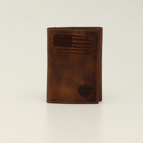 ARIAT TRIFOLD PATRIOT USA FLAG BROWN - ACCESSORIES WALLET   - A3545402
