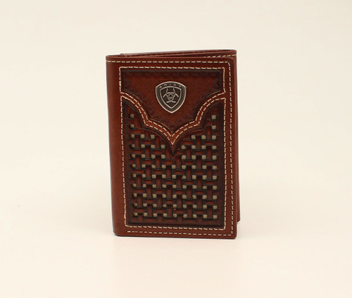 ARIAT TRIFOLD BASKETWEAVE PIERCED BR - ACCESSORIES WALLET   - A3540602
