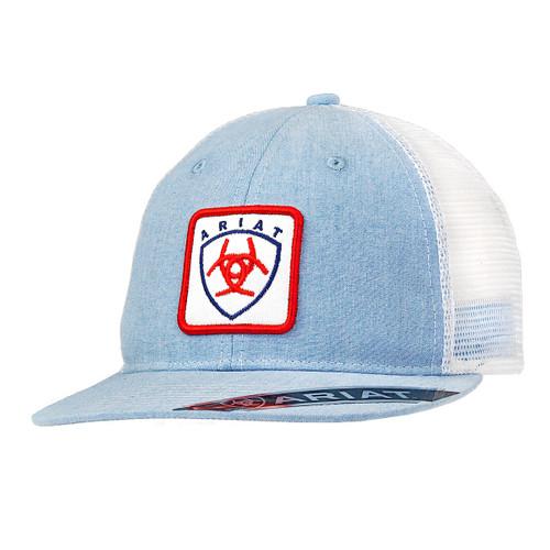ARIAT LIGHT BLUE WHITE MESH RED LOGO - HATS CAP   - 1514913
