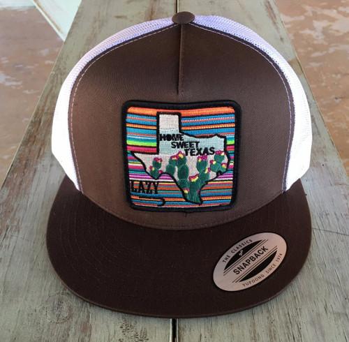 LAZY J BROWN HOME SWEET TEXAS - HATS CAP   - BRNWHT4HST