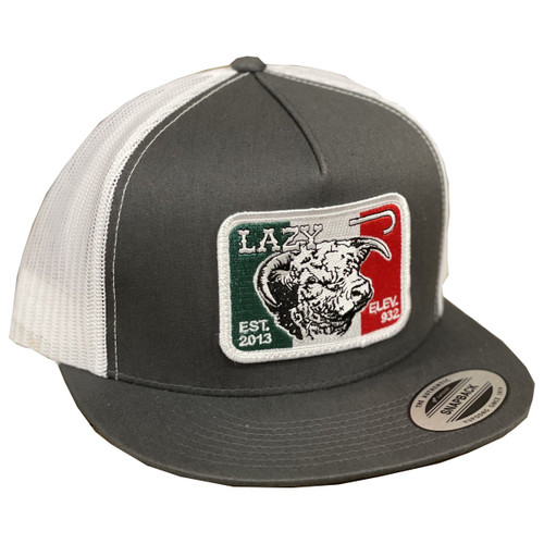 LAZY J MEXICAN BULL PATCH GREY - HATS CAP   - GRYWHT4MELEV